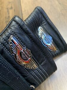 Harley Davidson Women's 100th Anniversary Gauntlet Black Leather Gloves XS