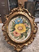 Vintage Antique Gold Gilt Italian Floral Flowers Florentine Frame Oil Painting