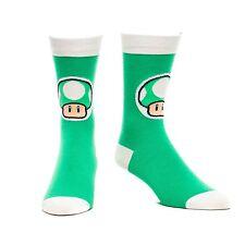 Nintendo Super Mario White & Green 1UP Mushroom Mens Crew Socks UK Size 5.5 - 8