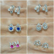 925 STERLING SILVER EARRINGS SPARKLY CRYSTAL STONES WOMENS STUD EARRINGS