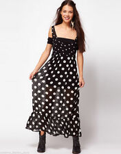 Polyester Spotted Sleeveless Maxi Dresses for Women