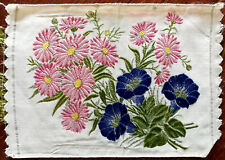 Antique Floral Embroidered Silk Panel With Blue and Pink Flowers