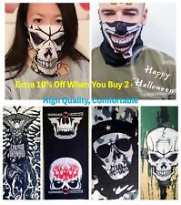 Women Men Halloween Skull Pattern Face Mask Neck Scarf Stretchy Handkerchief Cap
