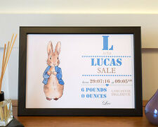 Personalised A4  Poster, Child's Bedroom, Nursery. Birth Details, Peter Rabbit