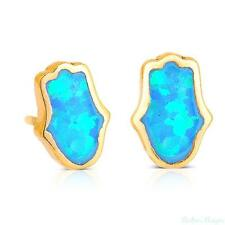 14K Gold Filled Hamsa Blue Opal Earrings Stud Round Stone Beads