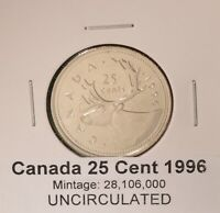 1996 Canada Quarter - UNCIRCULATED - from original mint roll