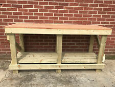 NEW 1.8M 6ft SOLID OAK TOP WORK BENCH WOODEN STRONG  WORKBENCH SOLID WOOD