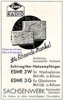 Radio Eswe Sachsenwerk Niedersedlitz ad 1931 advertising Germany