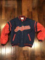 Cleveland Indians Mens Large MLB Baseball Bomber Jacket Mirage Chief Wahoo