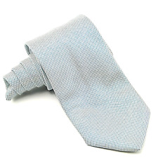 Brioni Geometric Tie White with Blue Squares Handmade in Italy 100% Silk