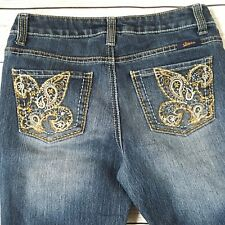 Seven7 Jeans Floral Embroidered Pockets Bling Size 10P
