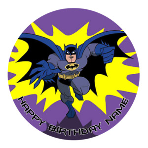 Batman Personalised Edible Birthday Party Cake Decoration Topper Round Image
