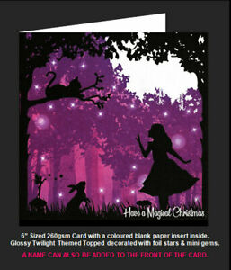 Once Upon a Twilight 'Alice In Wonderland & Cheshire Cat' Magical Christmas Card