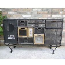 Industrial Cabinet 12 Compartment Metal Frame Mesh Wooden Drawers Storage Unit