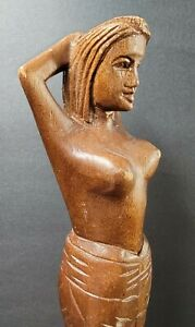"""Hand Carved Wooden Nude Female Woman Nutcracker 13"""" Long"""