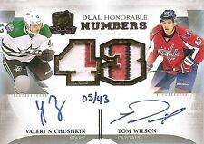 13/14 THE CUP DUAL HONORABLE NUMBERS AUTOGRAPH PATCH Tom Wilson/Nichushkin #5/43