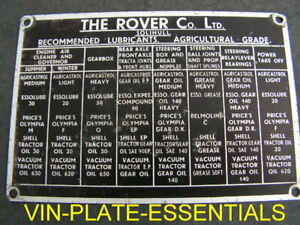 Land Rover Series 1 80 86 88 107 Bulkhead Lubricants Information chassis plate