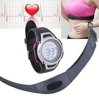 Fitness Pulse Heart Rate Monitor Watch & Chest Strap Pedometer Counter Battery