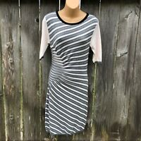 Ted Baker Women's Size 2 Fola Pleated Striped Knit S/S Sheath Dress Bodycon D8