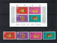 China Hong Kong 1998 New Year of Tiger S/S + stamps