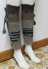 100% WOOLLEN BEAUTIFUL HAND KNITTED LEG WARMERS WITHOUT INNER LINING