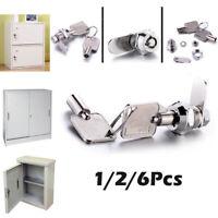 10mm Tubular Cam Lock Zinc Alloy+2Keys for Drawer Cabinet Desk Mailbox 1/2/6Pcs