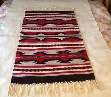 Native American Inspired Design Woven Rug/Wall Hanging W/ Fringe 21 1/4 X 41