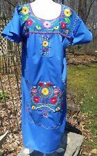 Puebla Dress Mexican Embroidered Flowers Floral Chiapas Large L Blue C