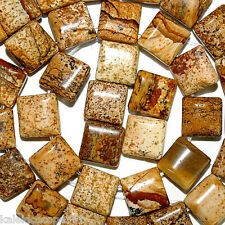 PICTURE JASPER GEMSTONE BEADS DOUBLE 2 HOLE SQUARE 10MM BEAD SQUARES SD3
