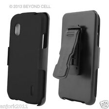 LG Nexus 4 E960 Google Phone Hard Case+Holster Combo w/ Swivel Belt Clip Black