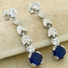 LAB SAPPHIRE 925 STERLING SILVER ANTIQUE DESIGN DANGLE EARRINGS,  #664