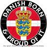 "DENMARK Danish Born & Proud 100mm (4"") Vinyl Bumper Sticker Decal"