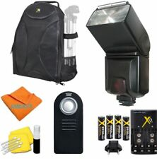 PRO FLASH + REMOTE + CHARGER + BACKPACK  FOR CANON EOS NIKON SONY ALPHA PENTAX
