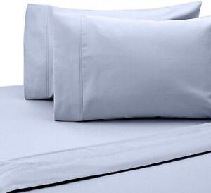 SALT 300-Thread-Count Cotton Sateen Full/Full XL 4 Piece Sheet Set in Light Blue