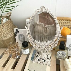 Small Nordic Plastic Mirror Round Decor Home Living Room Vintage Silver Frame