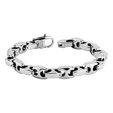 "Mens Tungsten Carbide Chain Bracelet 10mm Anchor Link Length: 8.66"""