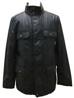 Coach 83616 Men's Wax Cotton Field Jacket Utility Coat Stowable Hood Navy Blue