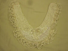 Faux Pearl Beaded Collar with Lace Trim NEW