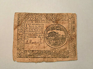 May 9, 1776 $4 Dollars Continental Currency Printed by Hall & Sellers CC-34 *