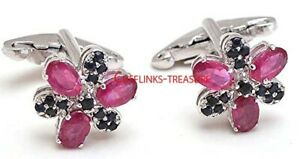Natural Blue Sapphire & Ruby Gemstones with 925 Sterling Silver Cufflinks