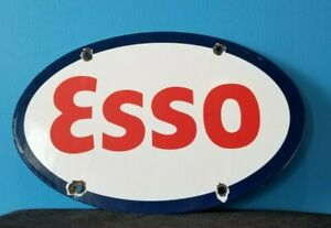 VINTAGE ESSO GASOLINE PORCELAIN GAS SERVICE STATION PUMP PLATE AD METAL SIGN