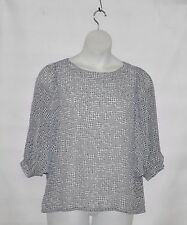 Bob Mackie Printed Chiffon 3/4 Sleeve Scoop neck Top Size S Grey