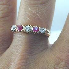 Ruby and diamond half eternity 14 carat gold ring 2.7g 1940's