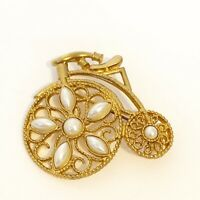 Vintage Penny Farthing Big Wheel First Bicycle Pin Brooch Faux Pearl Gold Tone