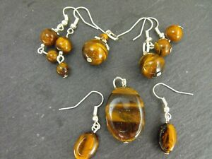 Various TIGER'S EYE gemstone pendant and earrings set