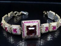 Turkish Handmade 925 Sterling Silver Authentic Ruby Ladies Womans Bracelet 1035