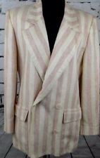 Christian Dior Women's Vintage Pink Beige Striped Double Breasted Blazer Size 8