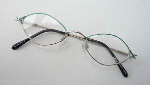 Women's Glasses Metal Small Frames Damengestell Solid Silver Green Size S