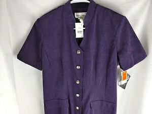Miss Dorby Purple Button Up Dress Size 8 Vintage with Shoulder Pads NWT