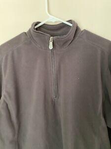 Men`s Sweatshirt 3/4 Zip Fleece Long Sleeves Dark Gray X Large